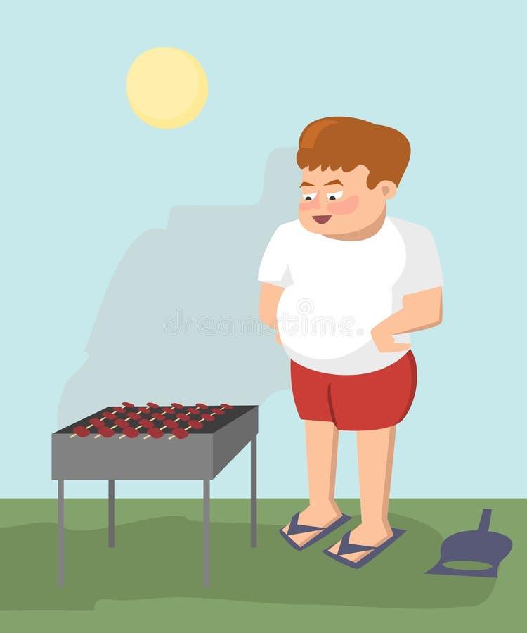 Κρέας τηγανητών ατόμων σε διανυσματικά κινούμενα σχέδια σχαρών ελεύθερη απεικόνιση δικαιώματος
