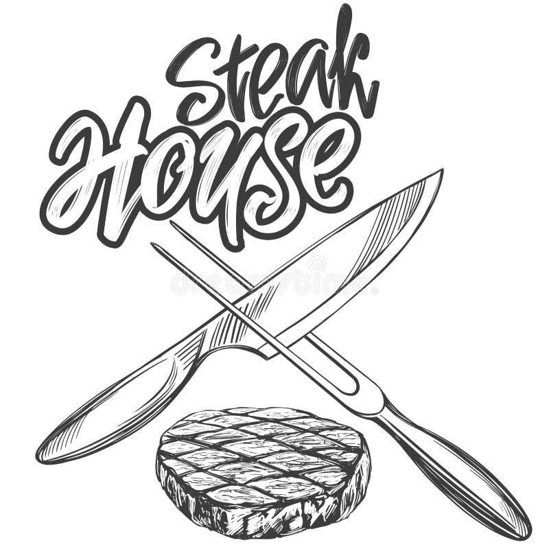 Κρέας τροφίμων, μπριζόλα, steakhouse λογότυπο, μαχαίρι και οβελίδιο, καλλιγραφικό κείμενο, συρμένο χέρι διανυσματικό ρεαλιστικό σ απεικόνιση αποθεμάτων