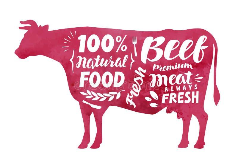Κρέας, φρέσκο βόειο κρέας, διανυσματική ετικέτα Αγελάδα σκιαγραφιών με την εγγραφή διανυσματική απεικόνιση