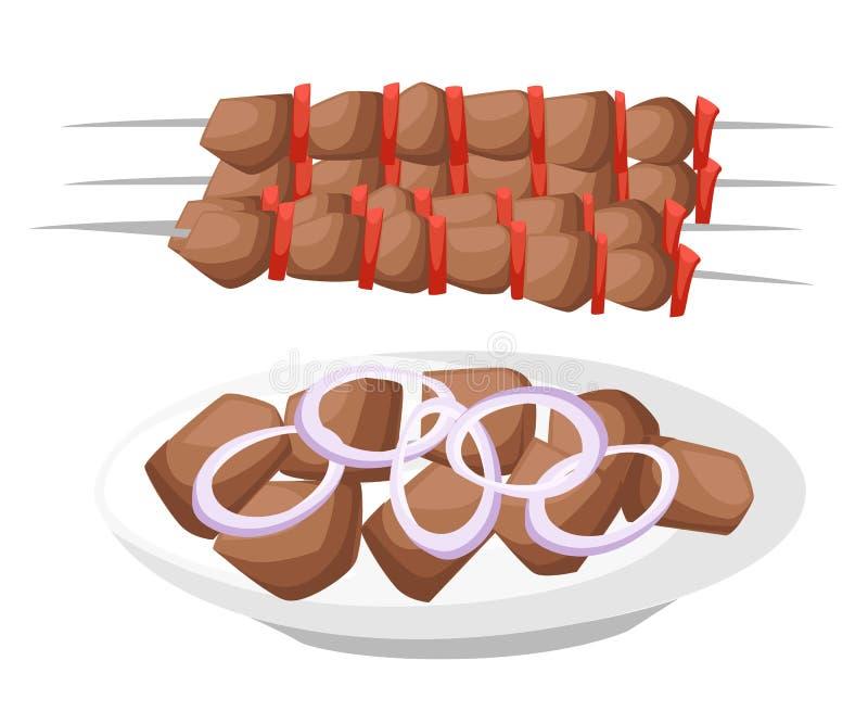 Κρέας, χορτοφάγος, οβελίδια θαλασσινών με τα κομμάτια Shashlik σχάρα Επίπεδοι σελίδα ιστοχώρου απεικόνισης ύφους διανυσματικοί sh απεικόνιση αποθεμάτων