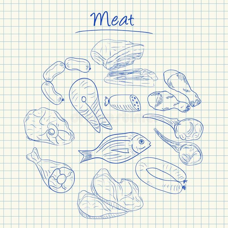 Κρέας doodles - τακτοποιημένο έγγραφο ελεύθερη απεικόνιση δικαιώματος