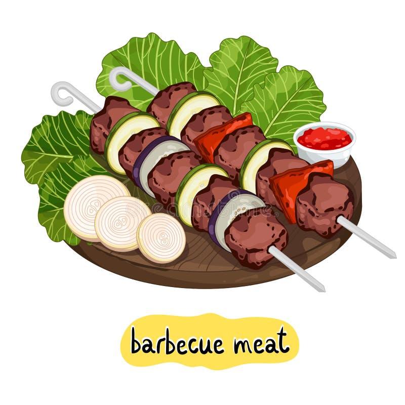 Κρέας kebab στον τέμνοντα πίνακα διανυσματική απεικόνιση