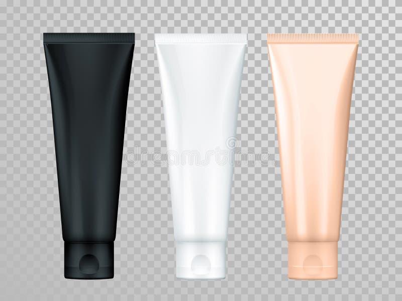 Κρέμας ή λοσιόν σωλήνων διανυσματικό δέρματος πρότυπο συσκευασίας φροντίδας καλλυντικό διανυσματική απεικόνιση