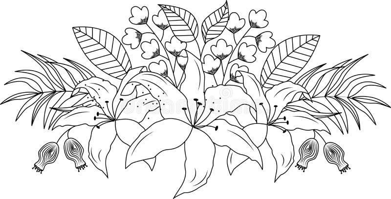 Κρίνος και φύλλα ανθοδεσμών λουλουδιών design illustration space διανυσματική απεικόνιση