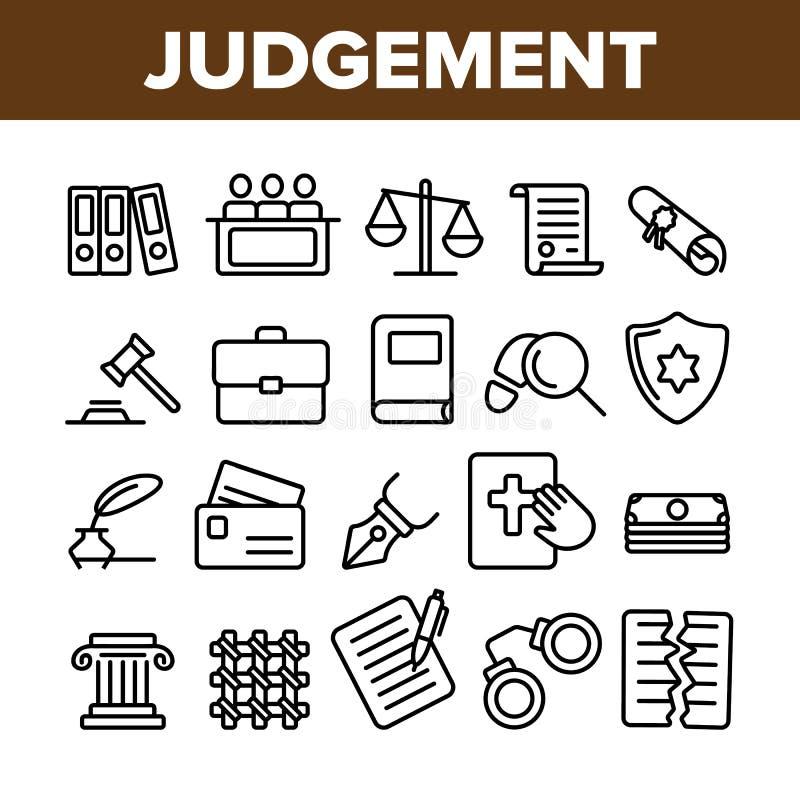 Κρίση, διανυσματικά λεπτά εικονίδια γραμμών διαδικασίας δικαστηρίου καθορισμένα απεικόνιση αποθεμάτων