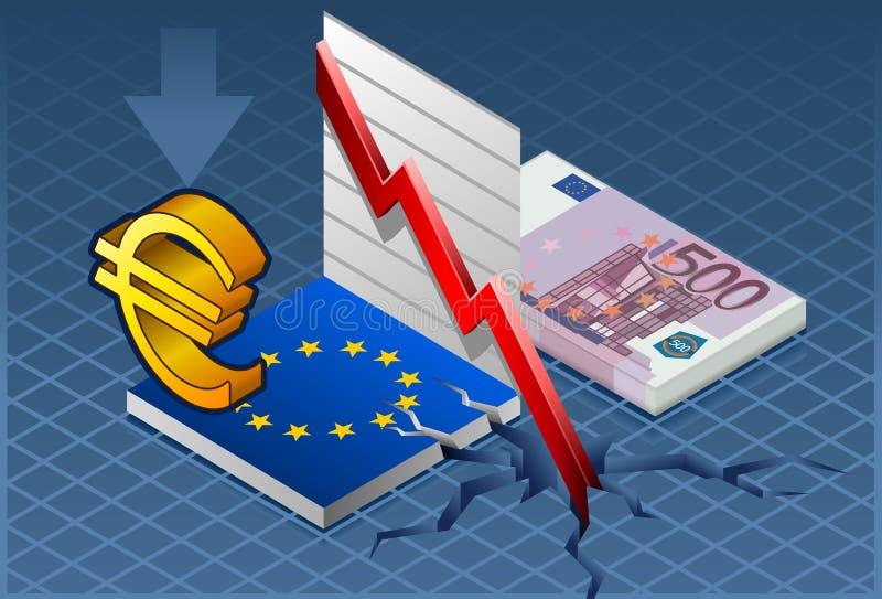 κρίση Ευρώπη isometric απεικόνιση αποθεμάτων