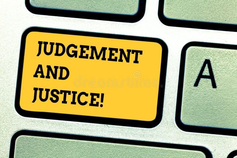 Κρίση και δικαιοσύνη κειμένων γραψίματος λέξης Επιχειρησιακή έννοια για το σύστημα των νόμων σε μια χώρα που κρίνει την παρουσίασ στοκ φωτογραφίες με δικαίωμα ελεύθερης χρήσης