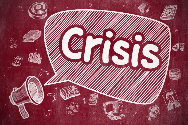Κρίση - συρμένη χέρι απεικόνιση στον κόκκινο πίνακα κιμωλίας ελεύθερη απεικόνιση δικαιώματος