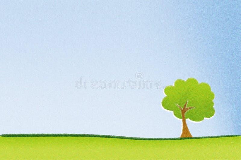 Κραγιόνι που σύρει τα ενιαία δέντρα με το υπόβαθρο μπλε ουρανού διανυσματική απεικόνιση
