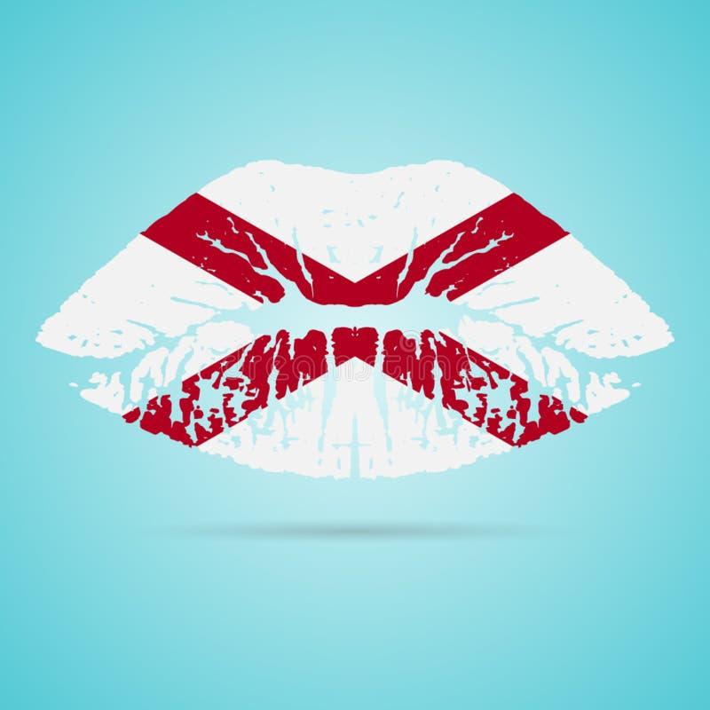 Κραγιόν σημαιών της Αλαμπάμα στα χείλια που απομονώνονται σε ένα άσπρο υπόβαθρο επίσης corel σύρετε το διάνυσμα απεικόνισης απεικόνιση αποθεμάτων