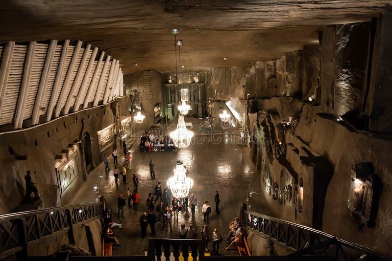 ΚΡΑΚΟΒΙΑ, ΠΟΛΩΝΙΑ - 15 ΙΟΥΝΊΟΥ 2012: Άποψη της αίθουσας στο αλατισμένο ορυχείο Wieliczka στην Κρακοβία στοκ φωτογραφία με δικαίωμα ελεύθερης χρήσης