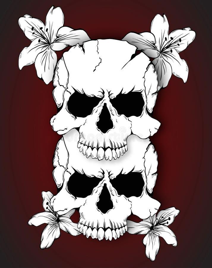 Κρανία και λουλούδια διανυσματική απεικόνιση