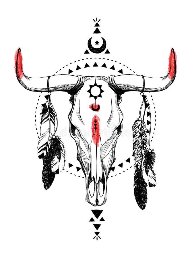 Κρανία του Bull με τα φτερά και τα εθνικά σύμβολα απεικόνιση αποθεμάτων