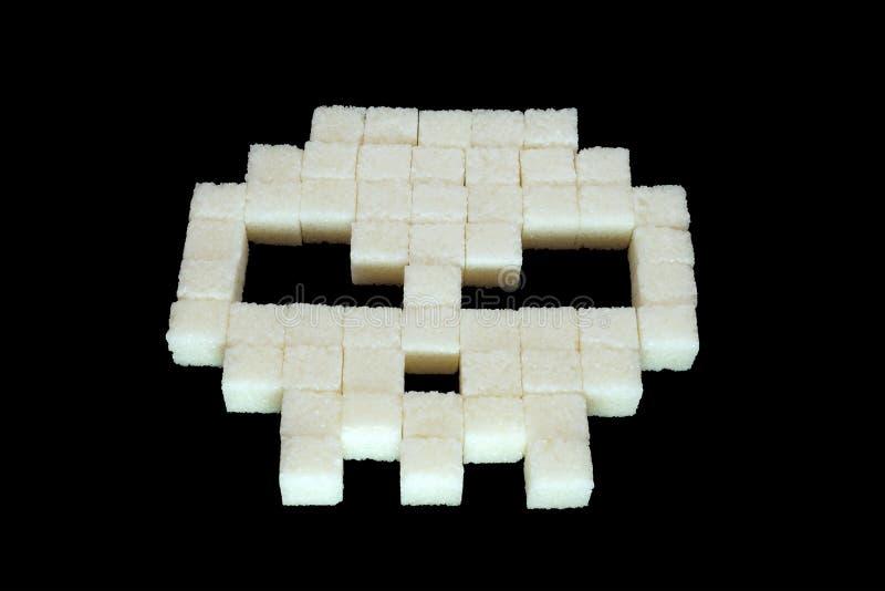 Κρανίο από τους κύβους άσπρης ζάχαρης Διαβήτης στοκ φωτογραφίες με δικαίωμα ελεύθερης χρήσης