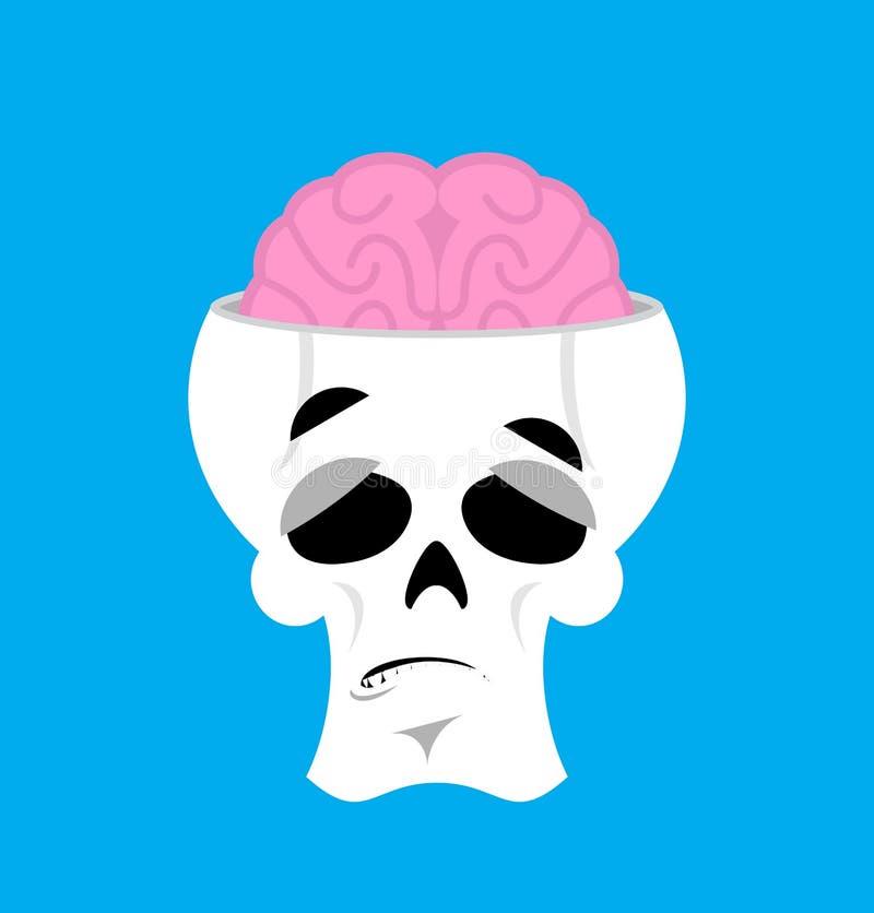 Κρανίο και έκπληκτο εγκέφαλος Emoji έκπληκτο κεφάλι emotio σκελετών διανυσματική απεικόνιση