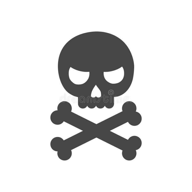 Κρανίο και εικονίδιο ή λογότυπο κόκκαλων ελεύθερη απεικόνιση δικαιώματος