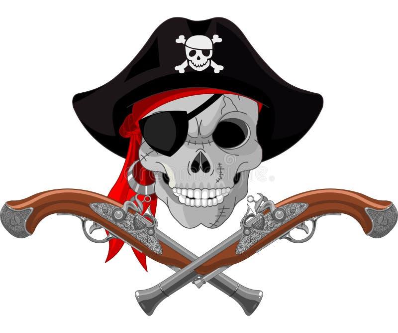Κρανίο και πυροβόλα όπλα πειρατών απεικόνιση αποθεμάτων