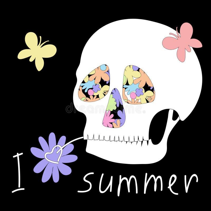 Κρανίο λυπημένο για το καλοκαίρι διανυσματική απεικόνιση