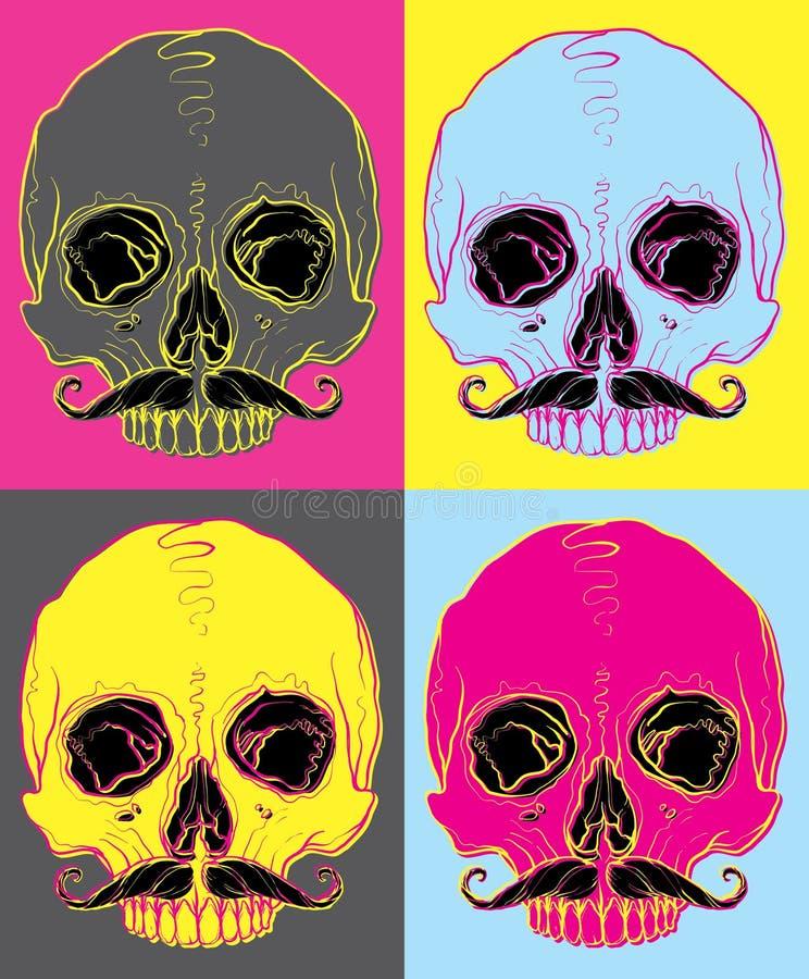 Κρανίο με λαϊκή τέχνη απεικόνισης moustache τη διανυσματική ελεύθερη απεικόνιση δικαιώματος