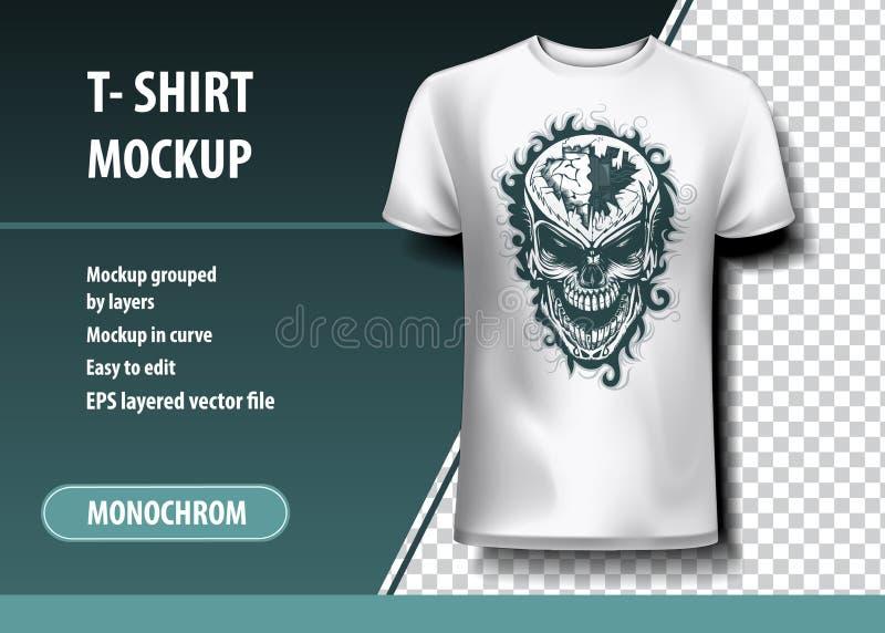 Κρανίο με μια τρύπα στο κεφάλι Πρότυπο μπλουζών, πλήρως editable απεικόνιση αποθεμάτων