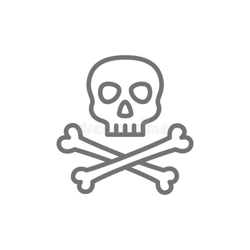 Κρανίο πειρατών με το εικονίδιο γραμμών crossbones απεικόνιση αποθεμάτων
