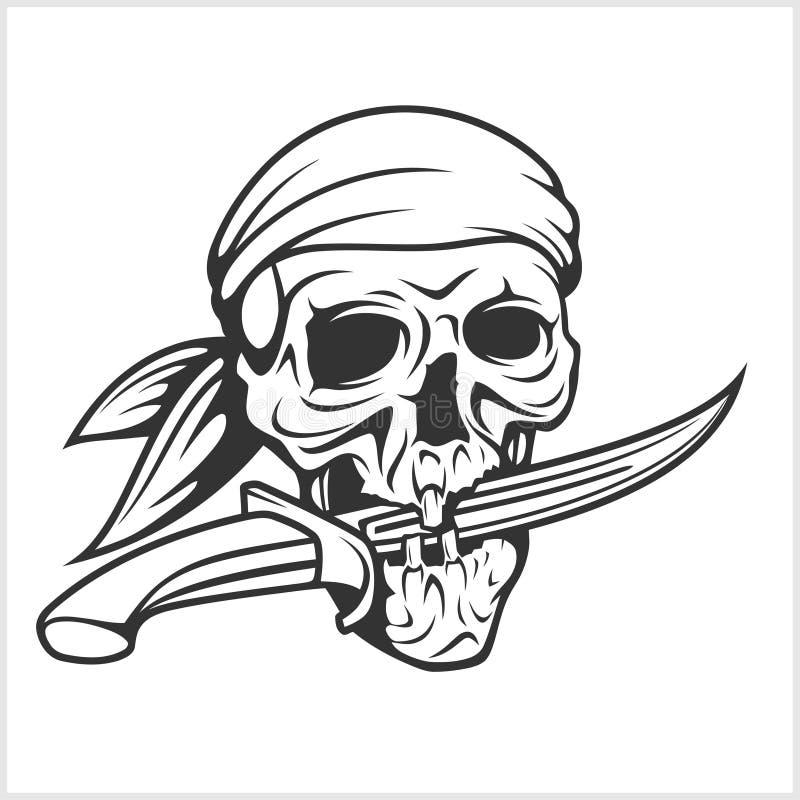 Κρανίο πειρατών Headband με το ξίφος διανυσματική απεικόνιση