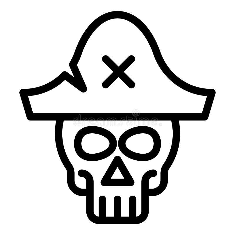 Κρανίο στο εικονίδιο γραμμών καπέλων πειρατών Σκελετών Ιστού απεικόνιση που απομονώνεται διανυσματική στο λευκό Σχέδιο ύφους περι απεικόνιση αποθεμάτων