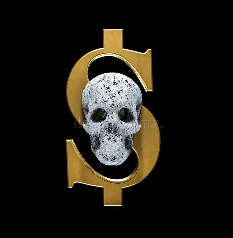 Κρανίο των γραμμών μορίων πλεγμάτων στο χρυσό σημάδι του συμβόλου δολαρίων η έννοια της χάραξης των χρημάτων στο θάνατο τρισδιάστ απεικόνιση αποθεμάτων