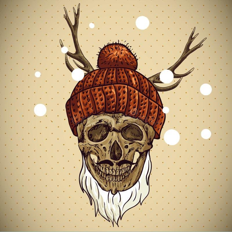 Κρανίο Hipster Χριστουγέννων χειμώνας έκδοσης απεικόνισης 0 8 διαθέσιμος eps ελεύθερη απεικόνιση δικαιώματος