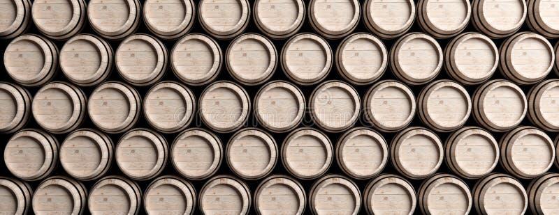 Κρασί, βαρέλια μπύρας που συσσωρεύονται, καφετί ξύλινο πλήρες υπόβαθρο χρώματος r διανυσματική απεικόνιση