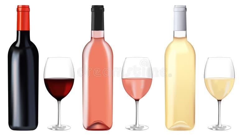 κρασί γυαλιών μπουκαλιών ελεύθερη απεικόνιση δικαιώματος