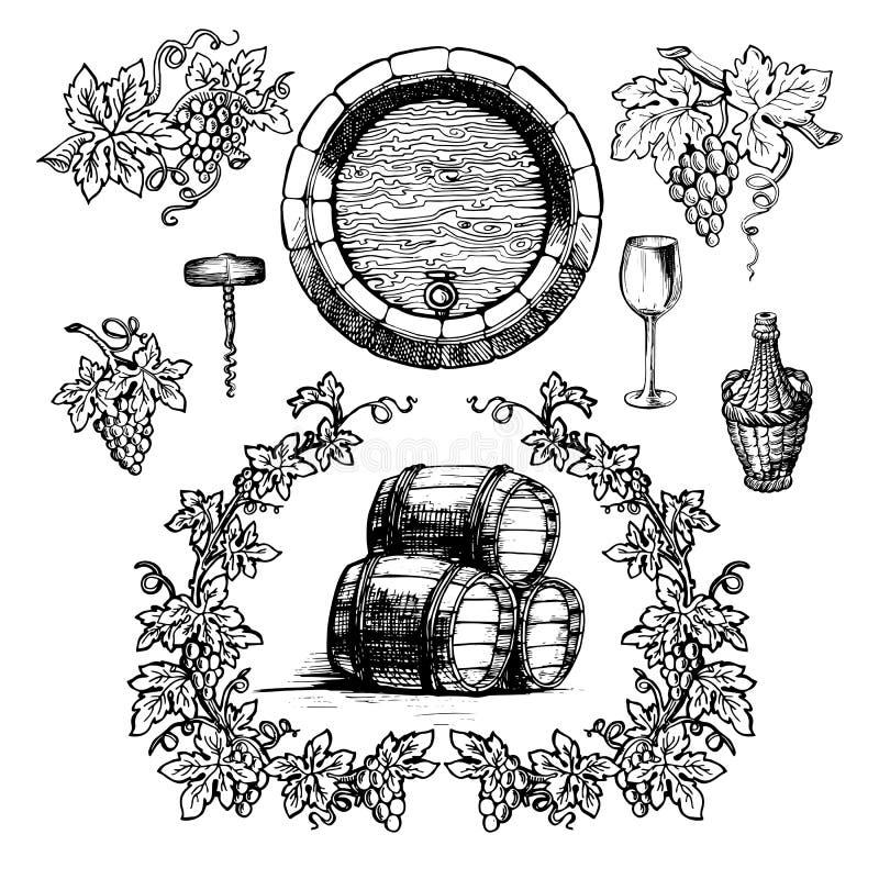 Κρασί και εκλεκτής ποιότητας σύνολο οινοποίησης απεικόνιση αποθεμάτων