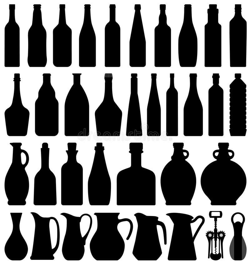 κρασί μπουκαλιών μπύρας απεικόνιση αποθεμάτων