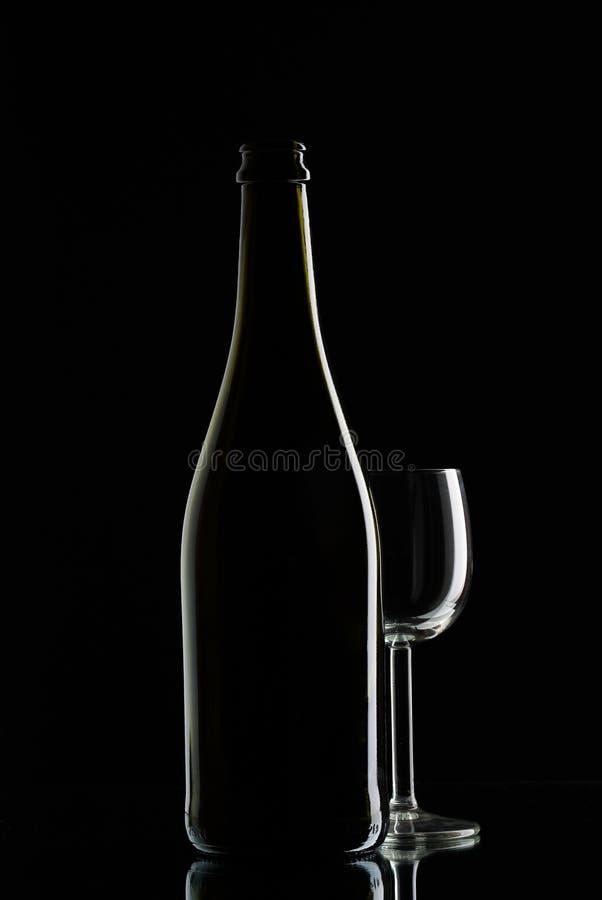 κρασί glas μπουκαλιών στοκ εικόνες