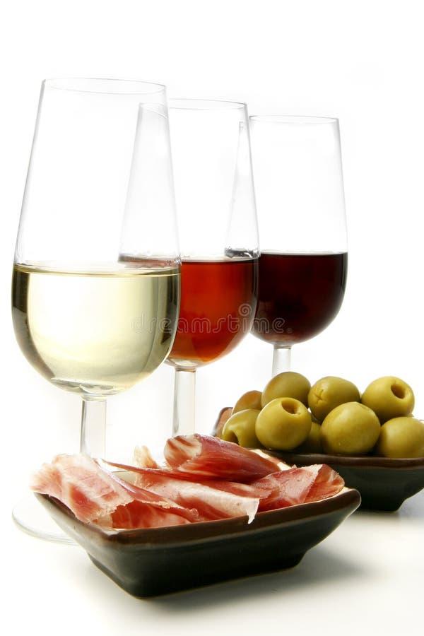 κρασί tapas σέρρυ στοκ εικόνες