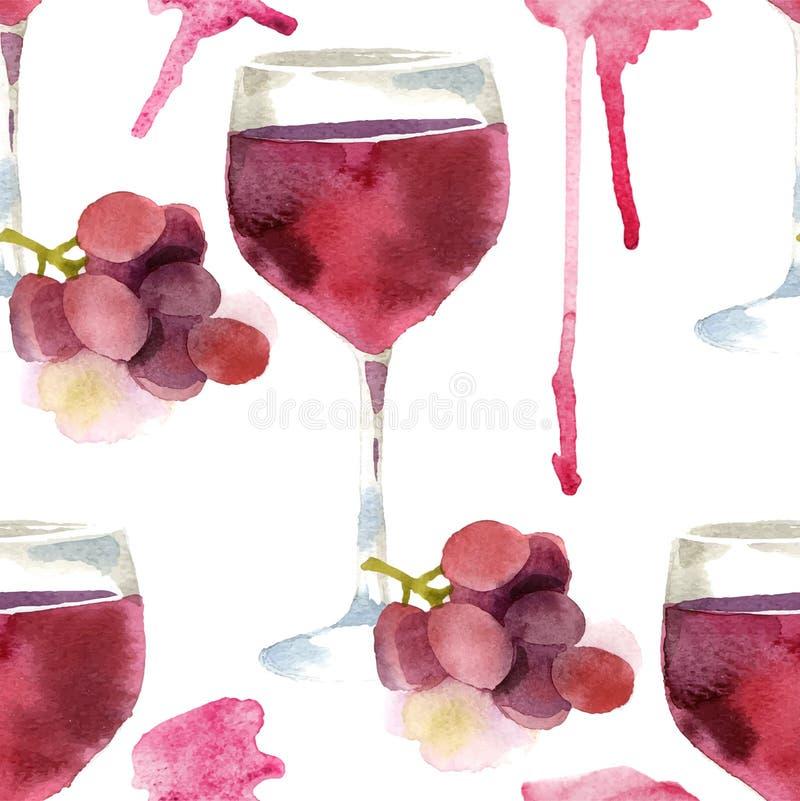 Κρασί Watercolor άνευ ραφής διανυσματική απεικόνιση