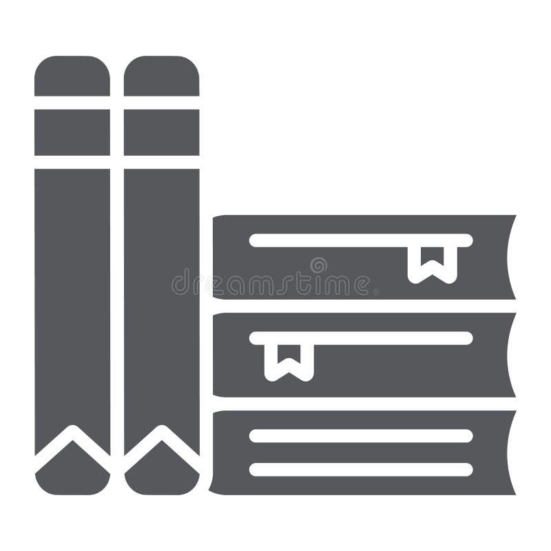 Κρατά glyph το εικονίδιο, το σχολείο και την εκμάθηση, σημάδι λογοτεχνίας, διανυσματική γραφική παράσταση, ένα στερεό σχέδιο σε έ απεικόνιση αποθεμάτων