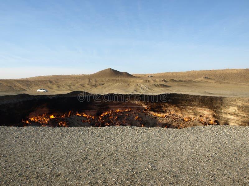 Κρατήρας αερίου Darvaza, Τουρκμενιστάν στοκ εικόνα