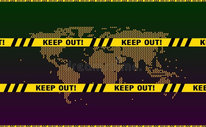 Κρατήστε έξω την κίτρινη κορδέλλα αστυνομίας, προειδοποιητικά σημάδια Ταινία αστυνομίας, παραλλαγή κορδελλών αστυνομίας Κείμενο π διανυσματική απεικόνιση