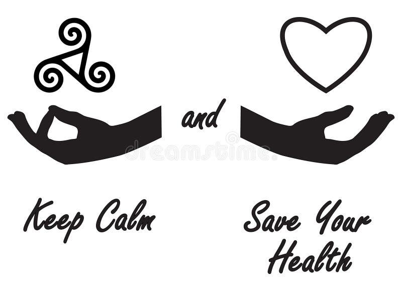 Κρατήστε ήρεμος και σώστε την υγεία σας διανυσματική απεικόνιση