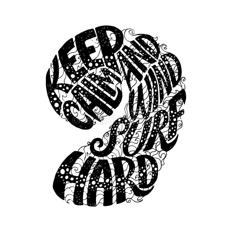 Κρατήστε ήρεμος και Windsurf σκληρό Σχέδιο τυπωμένων υλών μπλουζών ενδυμασίας εγγραφής χεριών συνήθειας, τυπογραφικό απόσπασμα φρ διανυσματική απεικόνιση