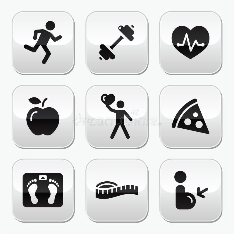 Κρατήστε τα κατάλληλα και υγιή εικονίδια στα στιλπνά κουμπιά απεικόνιση αποθεμάτων