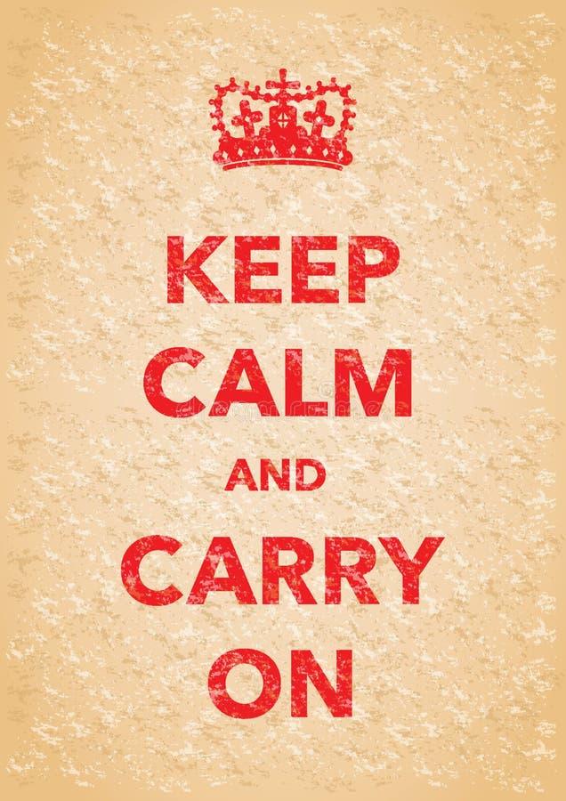 Κρατήστε την ήρεμη μίμησης αφίσα διανυσματική απεικόνιση