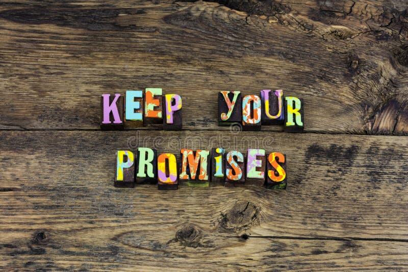 Κρατήστε την τυπογραφία καρδιών ακεραιότητας τιμιότητας υπόσχεσης στοκ εικόνα