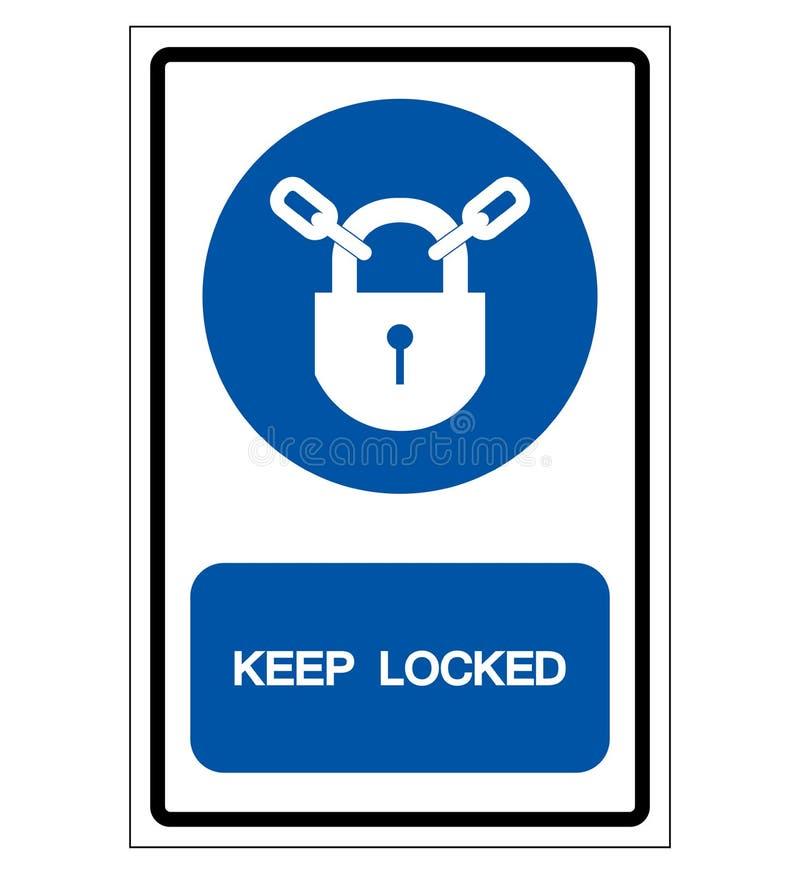 Κρατήστε το κλειδωμένο σημάδι συμβόλων, διανυσματική απεικόνιση, απομονώστε στην άσπρη ετικέτα υποβάθρου EPS10 διανυσματική απεικόνιση