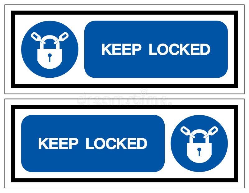 Κρατήστε το κλειδωμένο σημάδι συμβόλων, διανυσματική απεικόνιση, απομονώστε στην άσπρη ετικέτα υποβάθρου EPS10 ελεύθερη απεικόνιση δικαιώματος