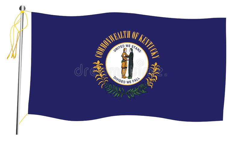 Κρατικά κυματίζοντας σημαία και κοντάρι σημαίας του Κεντάκυ απεικόνιση αποθεμάτων