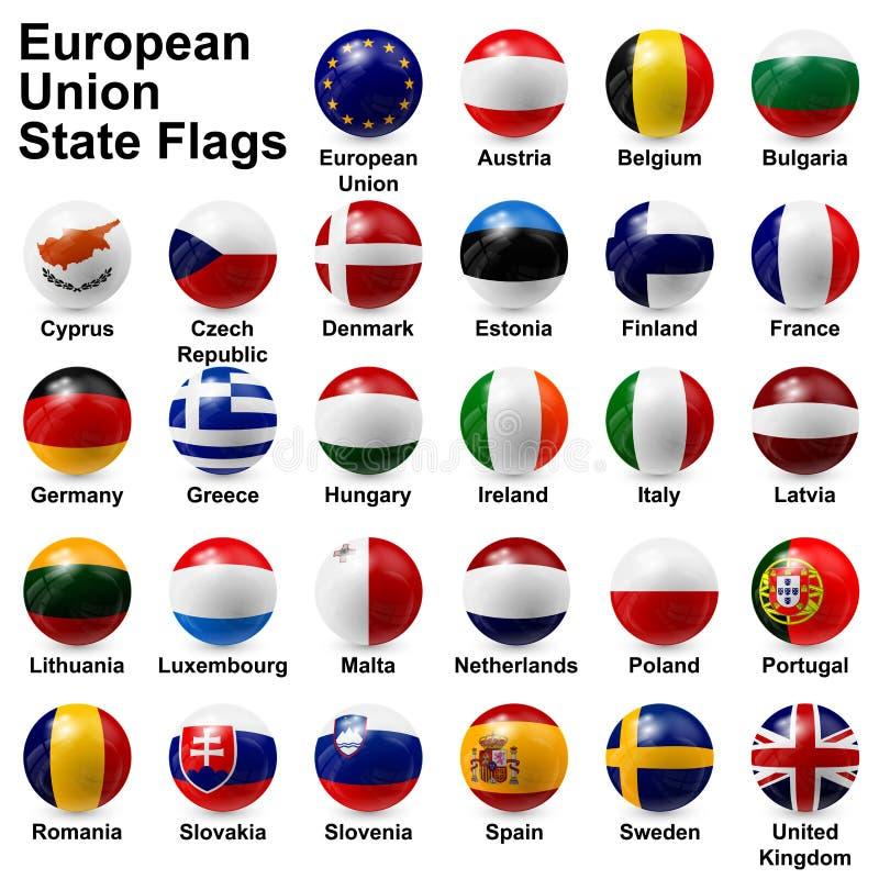 Κρατικές σημαίες της Ευρωπαϊκής Ένωσης ελεύθερη απεικόνιση δικαιώματος