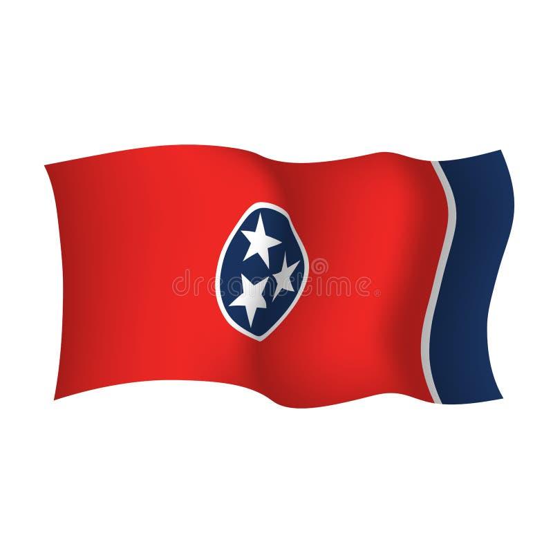 Κρατική κυματίζοντας σημαία του Τένεσι Διανυσματική απεικόνιση της κρατικής σημαίας του Τένεσι, ΗΠΑ ελεύθερη απεικόνιση δικαιώματος
