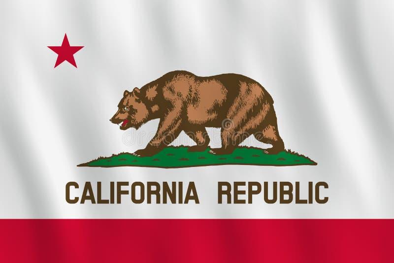 Κρατική σημαία Καλιφόρνιας ΗΠΑ με την επίδραση κυματισμού, επίσημη αναλογία απεικόνιση αποθεμάτων